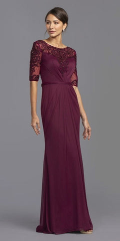 Sleeveless Long Formal Dress Embroidered Bodice L.Plum-Silver