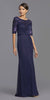 Mid-Length Sleeves Beaded Long Formal Dress Navy Blue