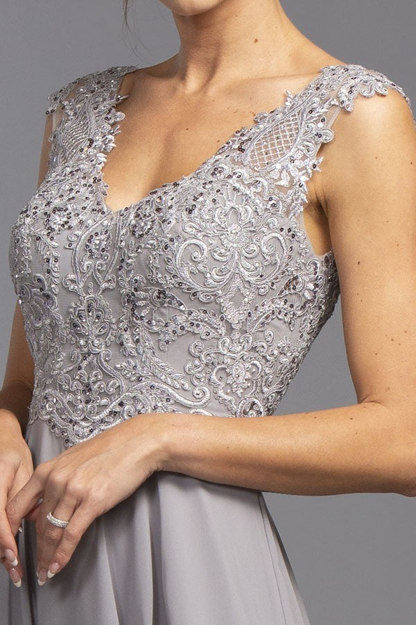 Sleeveless Appliqued Long Formal Dress Slate Gray
