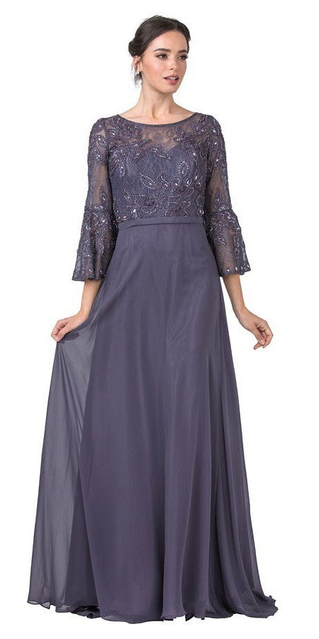 Appliqued Purple Grey Long Formal Dress with Bell Sleeves