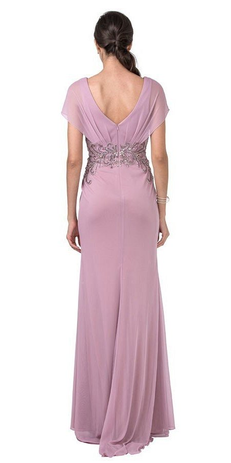 Embellished  Waist V-Neck Long Formal Dress Dusty Rose