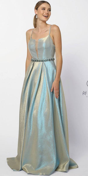 Blue Gold Metallic Prom Ball Gown Embellished Waist Open-Back