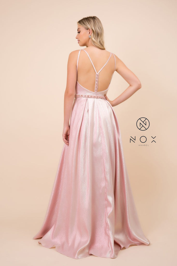 Nox Anabel M271 Metallic A-Line Ball Gown Blush V-Neck Open-Back