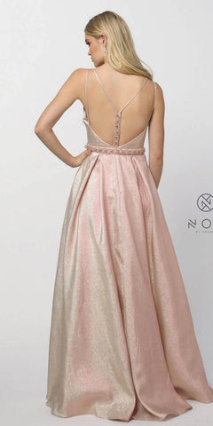 Blush Metallic Prom Ball Gown Embellished Waist Open-Back