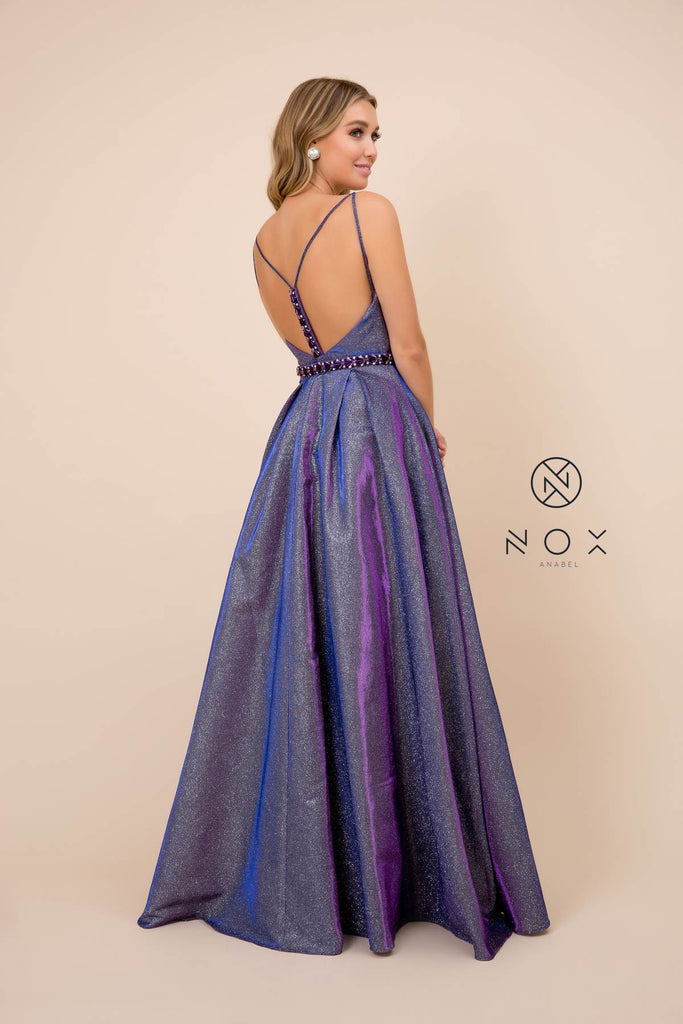 Nox Anabel M271 Metallic A-Line Ball Gown Purple V-Neck Open-Back