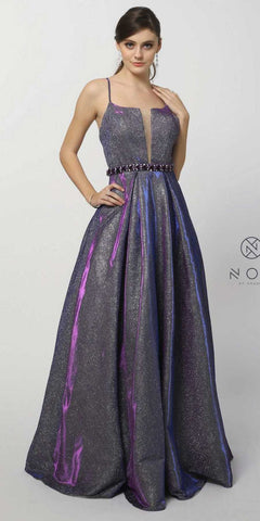 Off the Shoulder Purple Ball Gown with Glitter Effect and Pockets