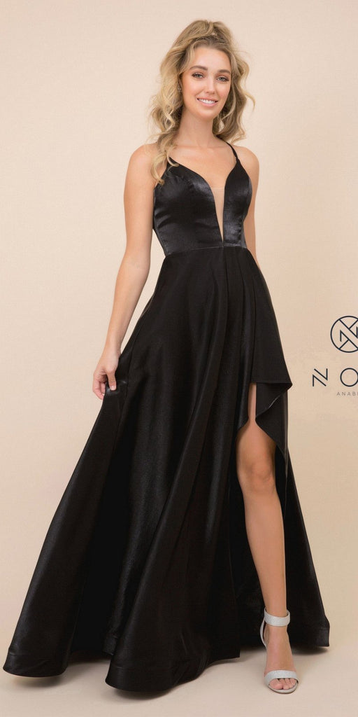 Black High and Low Prom Dress with Strappy-Back