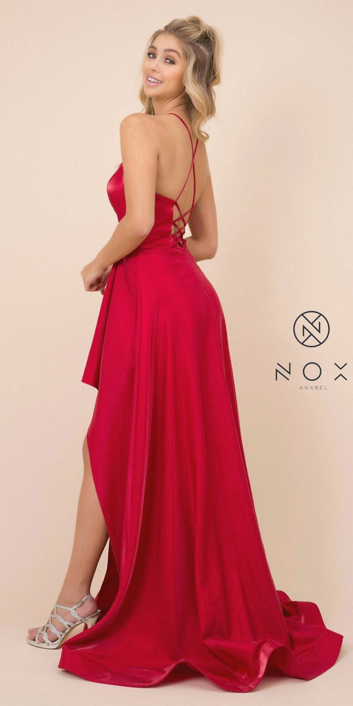 Red High and Low Prom Dress with Strappy-Back
