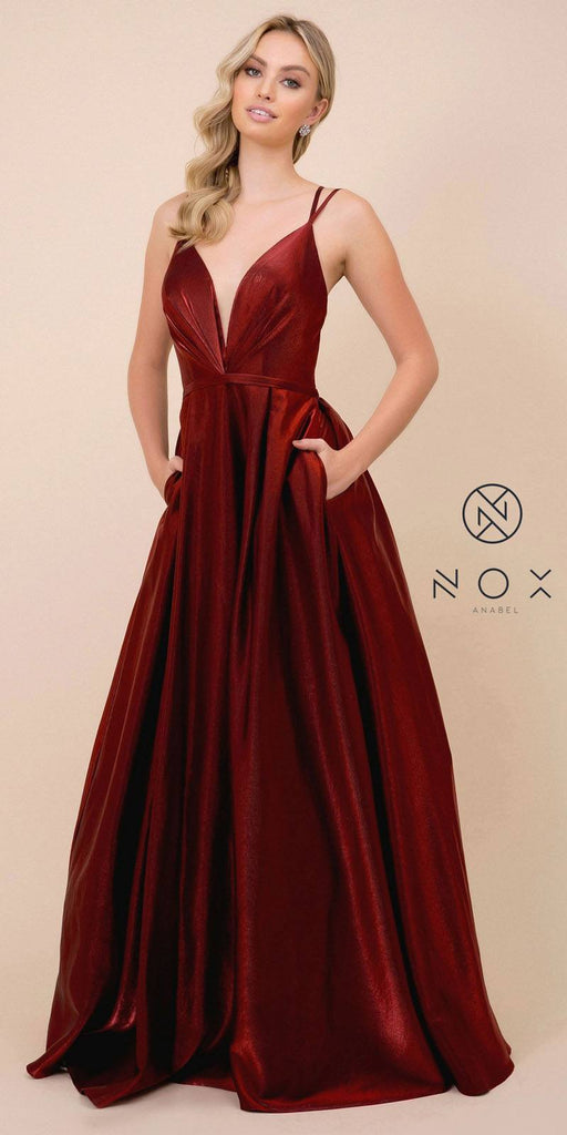 Cut-Out Open-Back Long Prom Dress with Pockets Burgundy
