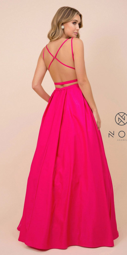 Cut-Out Open-Back Long Prom Dress with Pockets Fuchsia