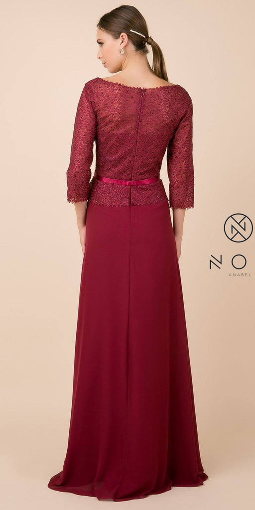 Nox Anabel M520 Burgundy Quarter Sleeved A-Line Long Formal Dress