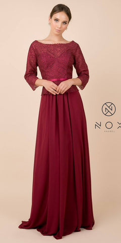 Appliqued Mid-Length Long Formal Dress Mauve