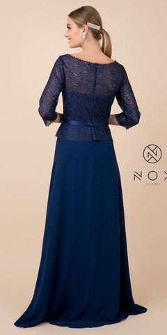 Nox Anabel M520 Navy Blue Quarter Sleeved A-Line Long Formal Dress
