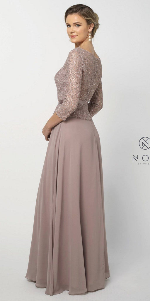 Nox Anabel M520 Tan Quarter Sleeved A-Line Long Formal Dress