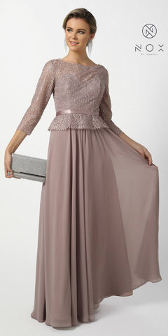 Tan Quarter Sleeved A-Line Long Formal Dress