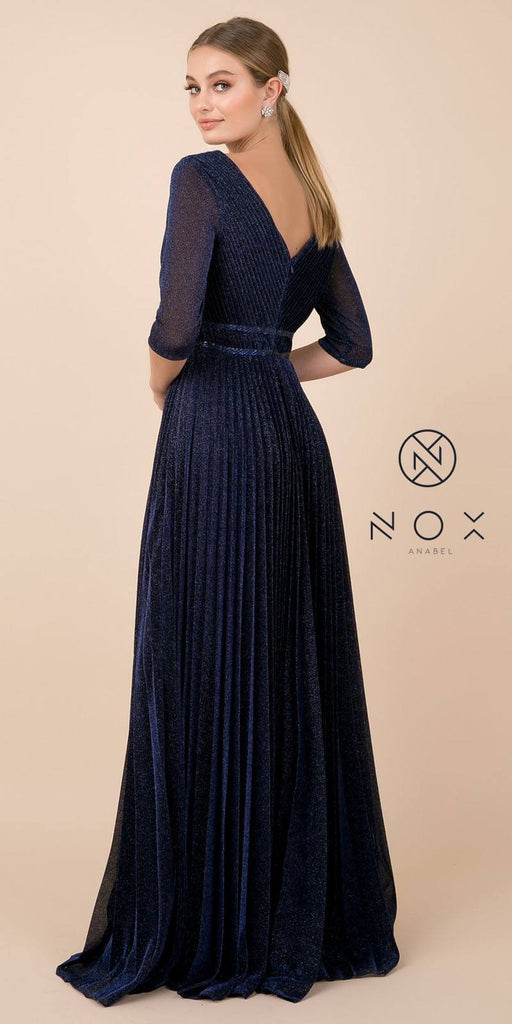Navy Blue Glitter Pleated Long Formal Dress V-Neck