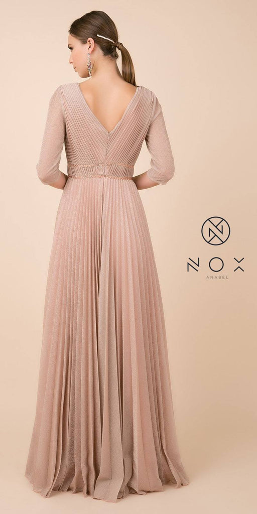 Rose Gold Glitter Pleated Long Formal Dress V-Neck