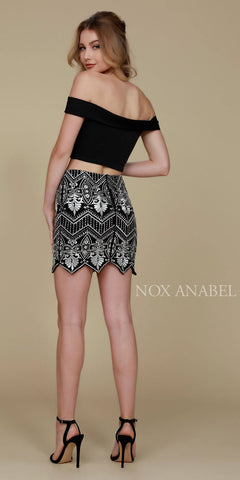 Short 2 Piece Cocktail Party Dress Black Mini Skirt Crop Top Back View