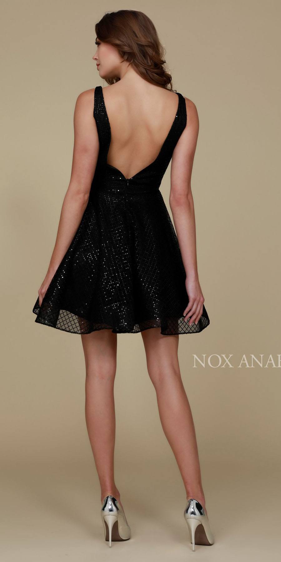 b05c5c0f59 ... Sequins Homecoming Dress Black A Line Deep V Neck Illusion Side Cut  Outs Back View ...