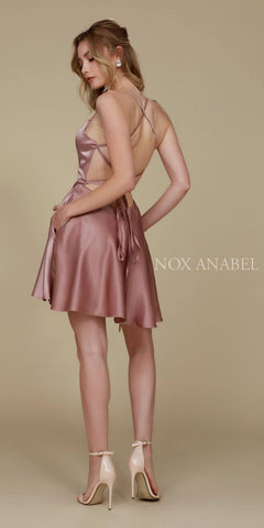 Short Criss-Cross Strap Back Cocktail Homecoming Dress Tan Back View