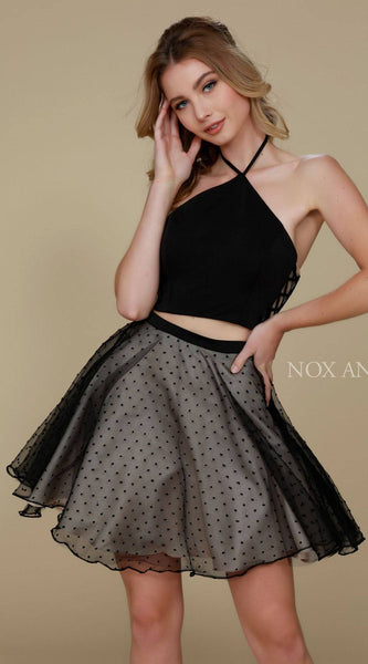 Two Piece Black Homecoming Dress Side Lace Up Halter Neckline