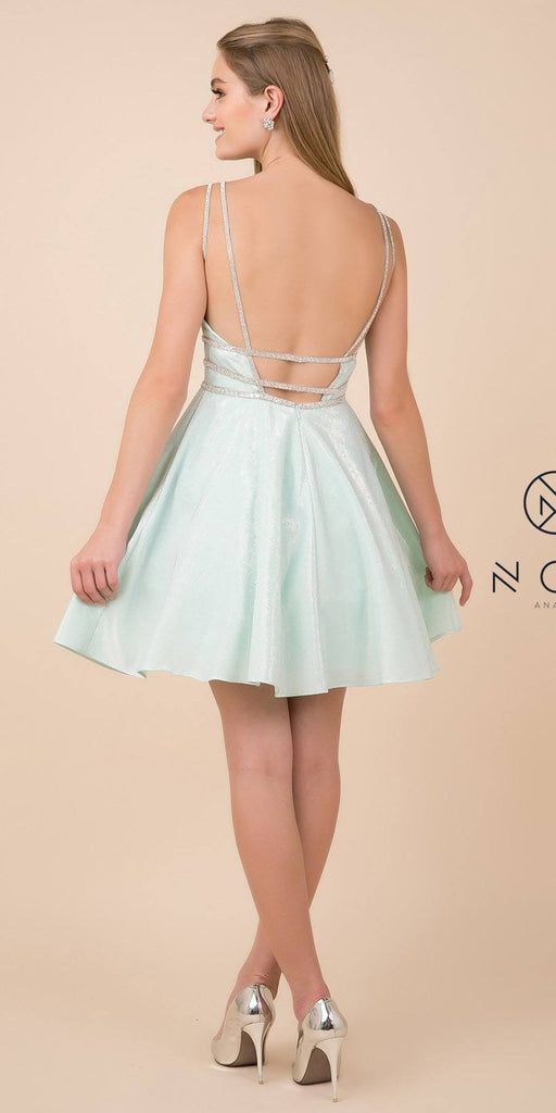 Open-Back Shimmering Homecoming Short Dress Mint Green