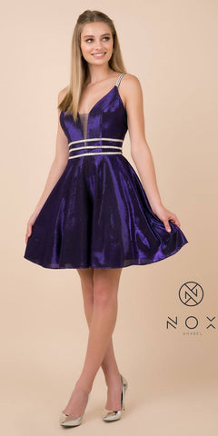 Open-Back Shimmering Homecoming Short Dress Purple