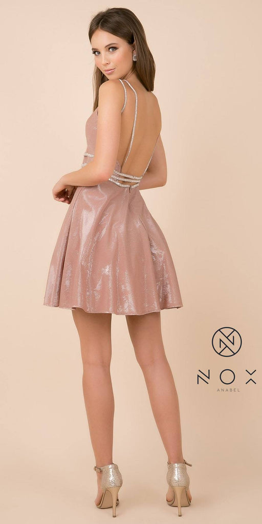 Open-Back Shimmering Homecoming Short Dress Gold