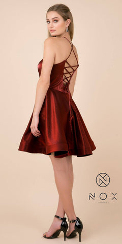 Criss-Cross Corset Back Burgundy Homecoming Short Dress