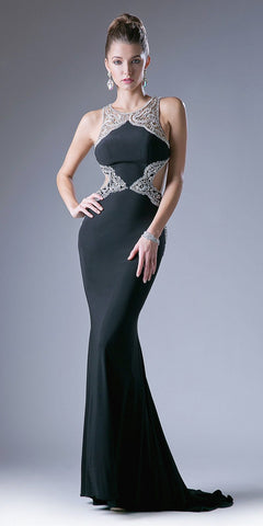 Black Open Cut-Out Back Mermaid Embellished Prom Gown