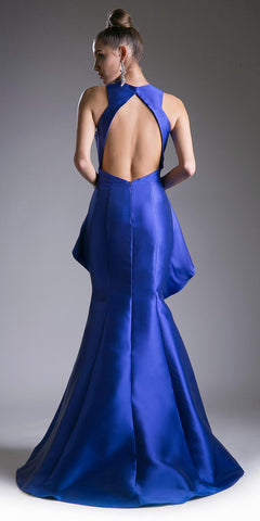 Royal High Neck with Keyhole Peplum Mermaid Prom Gown Open Back