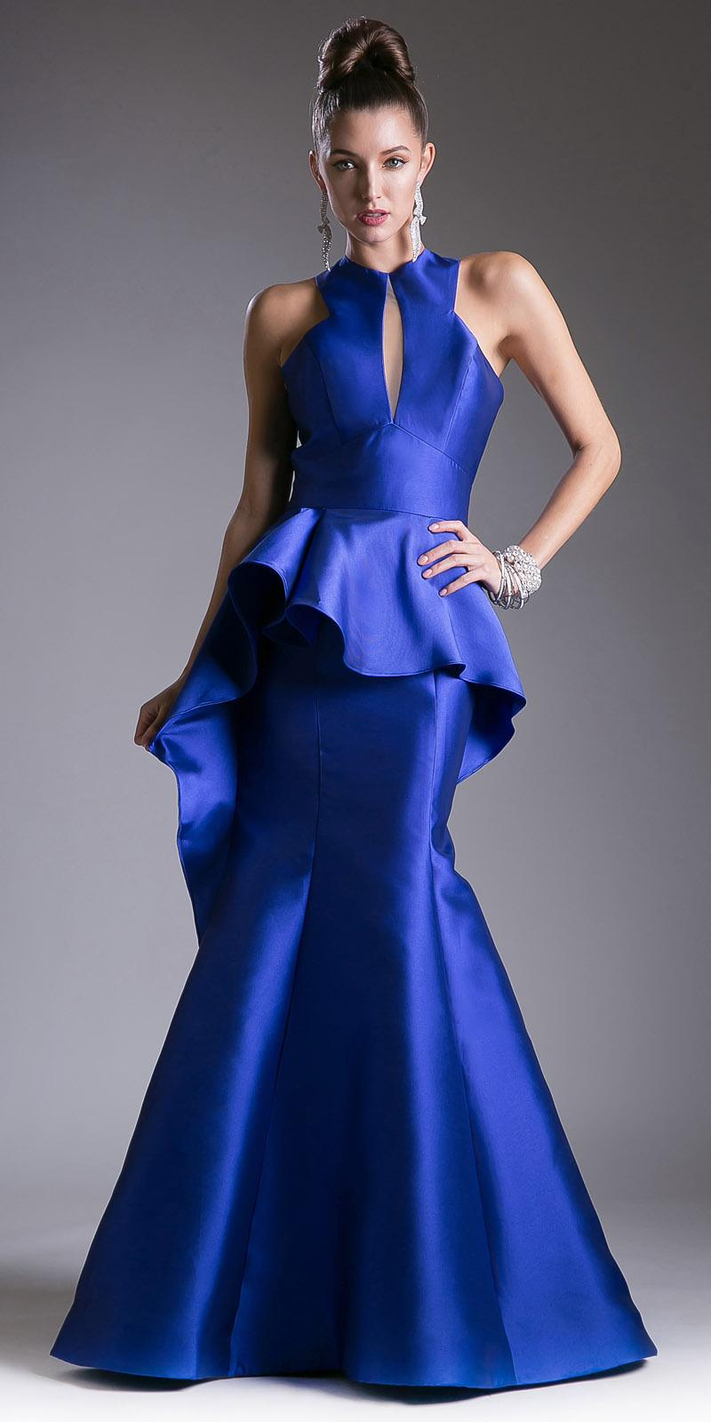 918bae126b Royal High Neck with Keyhole Peplum Mermaid Prom Gown Open Back