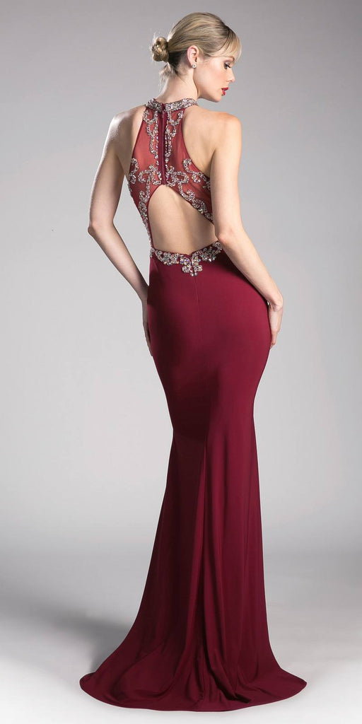Burgundy Halter Beaded Long Prom Dress with Slit