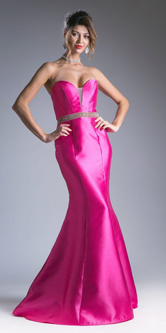 Strapless Mermaid Long Prom Dress Cut-Out Back Fuchsia