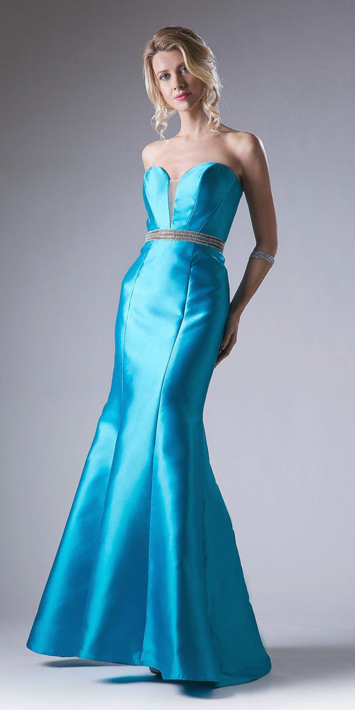 Strapless Mermaid Long Prom Dress Cut-Out Back Jade