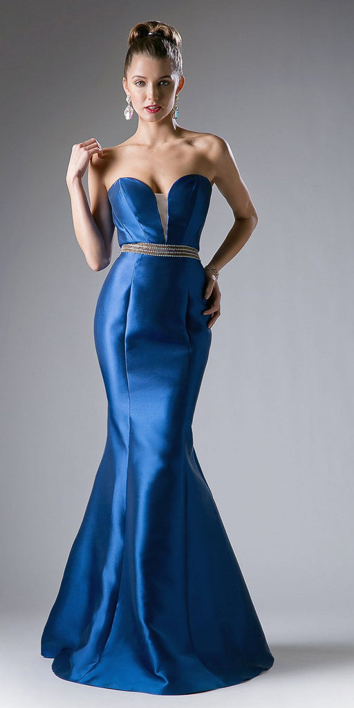Strapless Mermaid Long Prom Dress Cut-Out Back Navy Blue