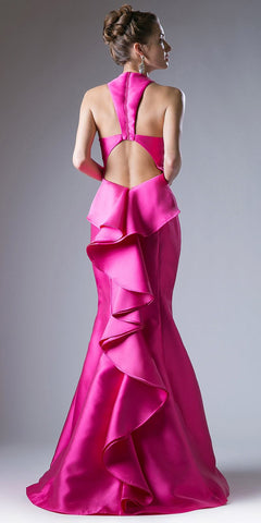 Cut Out Ruffled Back Trumpet Prom Gown V-Neck Fuchsia