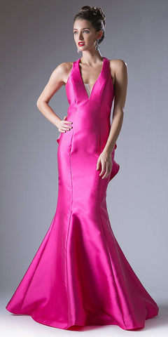 Cinderella Divine ML402 Cut Out Ruffled Back Trumpet Prom Gown V-Neck Fuchsia