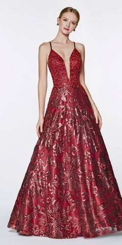 Cinderella Divine ML923 Long A-Line Sequin Gown Burgundy Floral Design Criss Cross Back