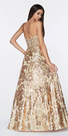 Cinderella Divine ML923 Long A-Line Sequin Gown Gold Floral Design Criss Cross Back