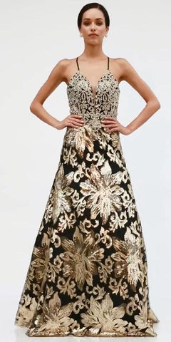 Cinderella Divine ML923 Long A-Line Sequin Gown Gold/Black Floral Design Criss Cross Back