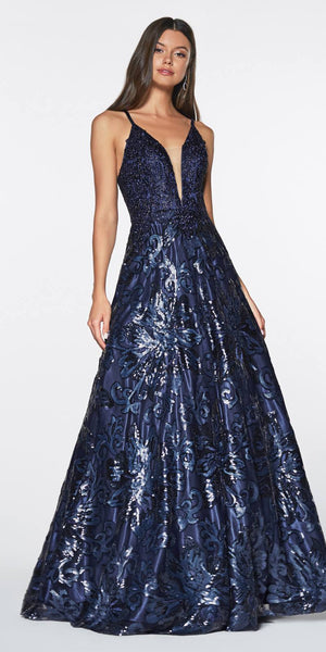 Cinderella Divine ML923 Long A-Line Sequin Gown Navy Blue Floral Design Criss Cross Back