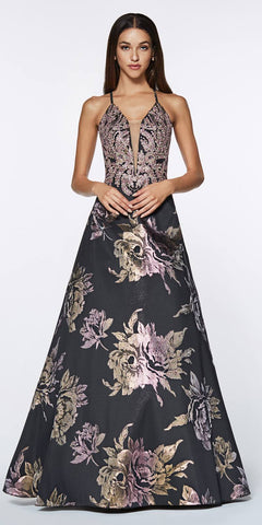 Cinderella Divine ML924 A-Line Metallic Gown Prom Black Floral Print Criss Cross Back V Neck