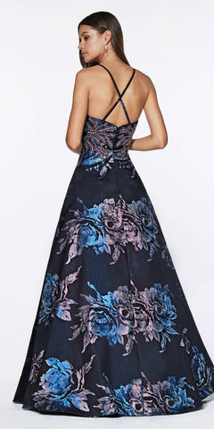 Cinderella Divine ML924 A-Line Metallic Gown Prom Navy Blue Back Floral Print Criss Cross Back V Neck