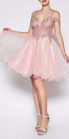Cinderella Divine ML925 Off The Shoulder Short Dress Blush Tulle A-Line Skirt Lace Beaded Bodi