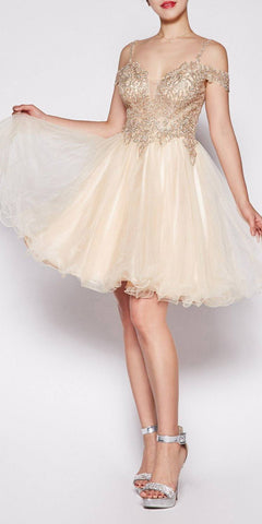 Cinderella Divine ML925 Off The Shoulder Short Dress Silver Tulle A-Line Skirt Lace Beaded Bodi