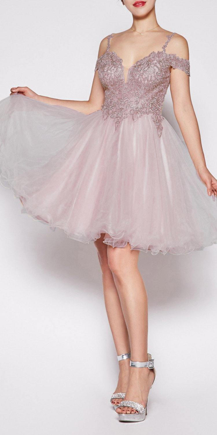 91515aac9f ... Cinderella Divine ML925 Off The Shoulder Short Dress Mocha Tulle A-Line  Skirt Lace Beaded