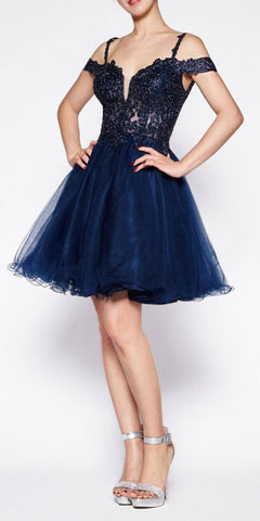 Cinderella Divine ML925 Off The Shoulder Short Dress Navy Blue Tulle A-Line Skirt Lace Beaded Bodi