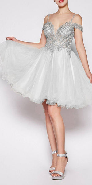 Cinderella Divine ML925 Off The Shoulder Short Dress Champagne Tulle A-Line Skirt Lace Beaded Bodi