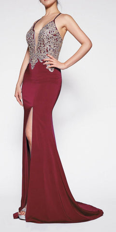 Cinderella Divine ML927 Floor Length Fitted Satin Crepe Gown Burgundy/Gold Deep Plunge Necklin